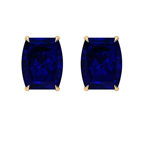 Pendientes de tuerca solitario de zafiro azul de 9 quilates con forma de barril (calidad de reliquia), rosca en la parte posterior azul