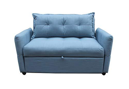 Meubletmoi - Sofá de 2 plazas convertible para cama individual de tela azul – Estilo clásico Cosy – Niagara