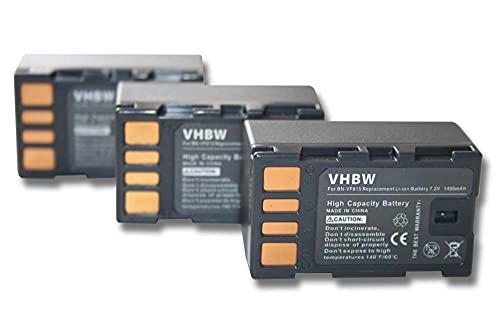 vhbw 3X Akku kompatibel mit JVC GZ-MS-Serie GZ-MS90EU, GZ-MS95 Videokamera Camcorder (1400mAh, 7,2V, Li-Ion) mit Infochip