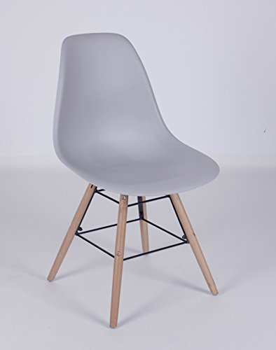 Orleans Designerstoel, grijs, stoel, zonder armleuning, modern, opvallende kuipstoel, eetkamerstoel, houten onderstel, houten poten van beuken
