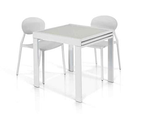 Lo Scrigno Arredamenti Tavolo Vetro Bianco – 90x90 allungabile