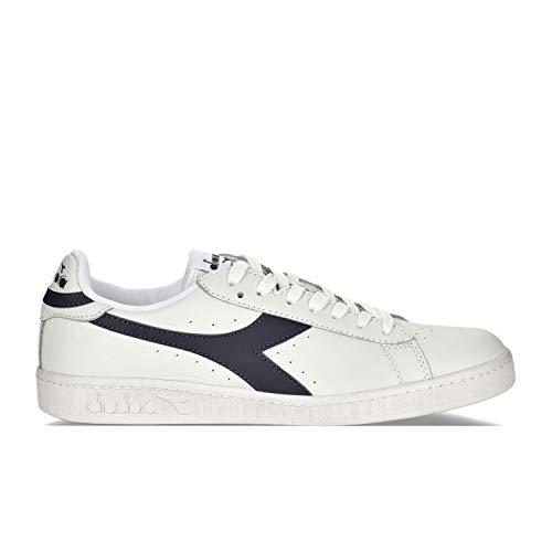 Diadora Men's Game L Low Waxed-M Court Shoe, White/Blue Caspian Sea, 8.5 M US
