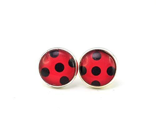 Stechschmuck Ohrstecker Handmade Punkte Polka Dots Lady Bug Ladybug Miraculous Schwarz Rot Silber Farben Damen Kinder Kitsch Kawaii 14mm 1 Paar