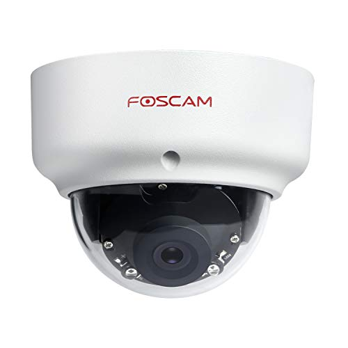 Foscam D2EP - Telecamera IP POE da esterno HD 2 MP a infrarossi, 20 m, rilevamento di movimento intelligente, compatibile con Amazon Alexa