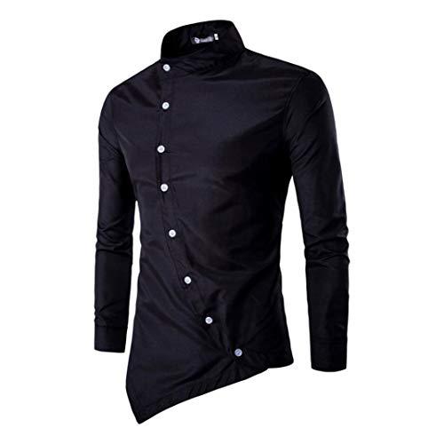 ZYooh Premium High Collar Men's Long Sleeves Shirt Sleeves Tee,Fashion Irregular Button Stand-up Slim Fit Casual Dress Shirt Blouse (XL, Black)