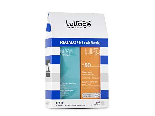 Lullage | Bloqueador solar facial + Gel exfoliante despigmentante| bloqueador despigmentante | protector rayos UVA-UVB-IR | 50 ml… (Sensible)