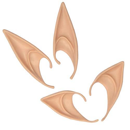 2 pares de fantasia de fada de fada de fada para cosplay de elfo de látex da Yemocile, acessórios de máscaras de orelhas pontudas macias para festa de Halloween, festa de Natal, cor natural