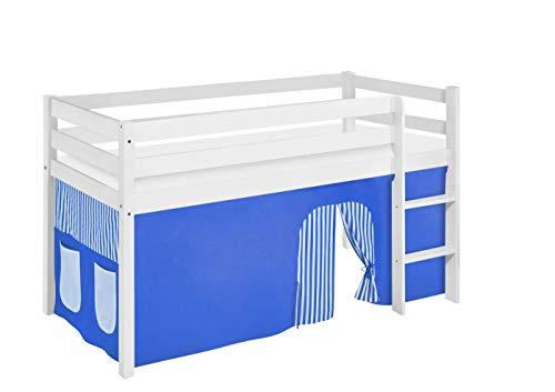 Lilokids JELLE Lit de Jeu avec Rideaux et sommier à Lattes Bleu/Blanc 90 x 190 cm