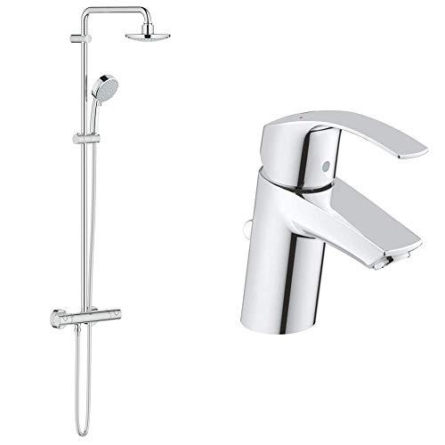 GROHE Tempesta Cosmopolitan System 160 | Brause- & Duschsystem - mit Thermostatbatterie & Eurosmart | Badarmatur - Einhand-Waschtischbatterie, mit Einlochmontage & Keramikkartusche | S-Size