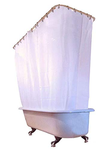 NECCI White All Around Waterproof Fabric Clawfoot Tub Shower Curtain - Extra Wide 180x72 Inches 34-Pack Metal Shower Hooks Included