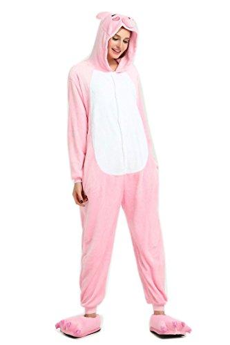 ROYAL WIND Pijama Unisex de Franela para Adultos, Modelo Totoro Kigurumi (XL, Cerdo Rosa)