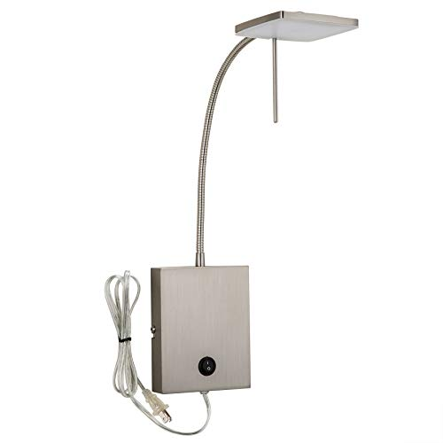 CO-Z Modern Wall Lamp Plug in, LED Bedside Wall Sconce Adjustable with Nickel Finish, 23'' Silver Corded Wall Mount Light for Bedroom Bedside Bed Reading Living Room Hotel.