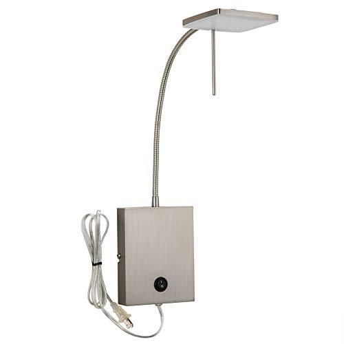 CO-Z Lámpara de Pared LED, Níquel Cepillado, Enchufe de Pared, Regulable con Interruptor, Iluminación de Pared Moderna y Portátil para Dormitorio, Lectura, Mesilla de noche, Esquina, Sala de Estar