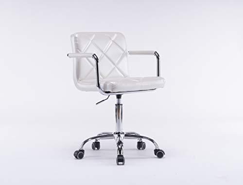 Fiximaster 308-8 - Silla de oficina giratoria con reposabrazos y respaldo ergonómico ajustable, piel sintética, color blanco