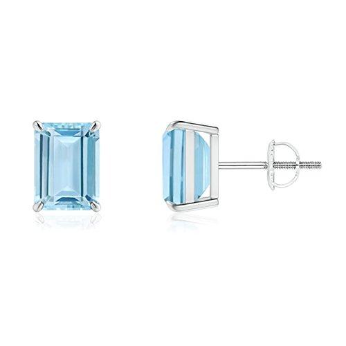 Claw-Set Emerald-Cut Aquamarine Solitaire Stud Earrings in 14K White Gold (8x6mm Aquamarine)