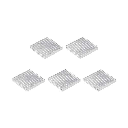 sourcing map 5x35x35mm Silver Tone Aluminum Heatsink Thermal Adhesive Pad Cooler for Cooling 3D Printers 5Pcs