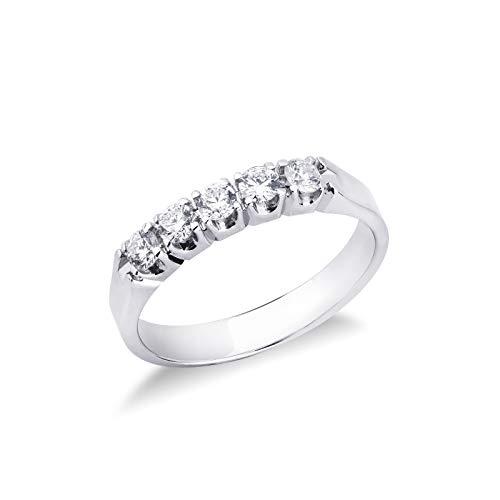Gioielli di Valenza - Anello Veretta a 5 pietre in Oro bianco 18k con diamanti ct. 0,40 - FE5RA040BB - 9