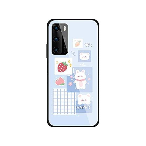 Funda para teléfono compatible con Huawei P9 10Plus 20PRO P30 Lite Carcasa trasera de vidrio templado compatible con NOVA 3E Series-a4 - Compatible con NOVA3E