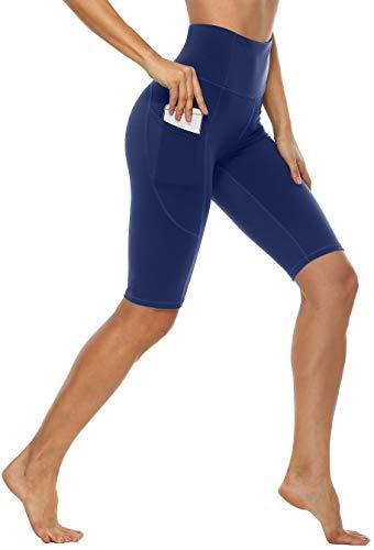 Anwell Sporthose Damen kurz Dunkelblau mit Tasche Sportleggings mit Hohem Bund Stretch Handytasche Tights Navy L
