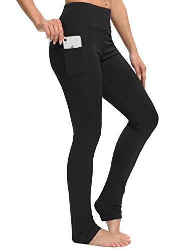 Sevego Damen extra Lange Yoga-Leggings mit Taschen Leggings mit Ferse für Ballett Tanz Sportliche Workout-Hose Schwarz M