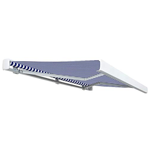 Lechnical Toldo eléctrico práctico para Exteriores, Toldo eléctrico retráctil Azul y Blanco...