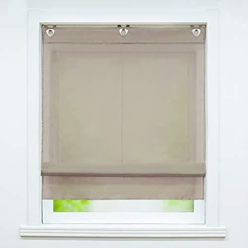 Joyswahl Voile Raffrollo mit Hakenaufhängung, ohne Bohren »Hanna« Schals Fenster Unifarbige Vorhänge BxH 100x130cm Braun 1er Pack