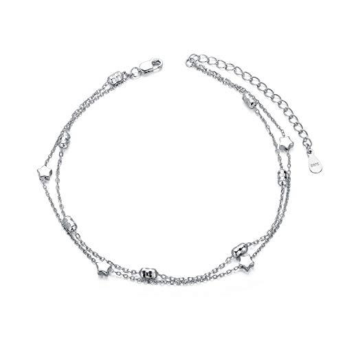 Stern Fußkettchen Sterling Silber 925 Damen Verstellbare Fusskettchen 27 cm