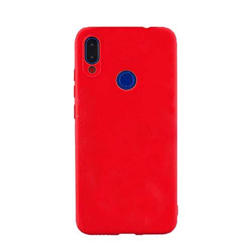cuzz Funda para Samsung Galaxy M20+{Protector de Pantalla de Vidrio Templado} Carcasa Silicona Suave Gel Rasguño y Resistente Teléfono Móvil Cover-Rojo