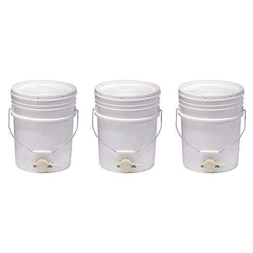 Little Giant BKT5 Plastic Honey Extractor Bucket with Honey Gate Tool for Beekeeping Harvesting, 5 Gallon (3 Pack)