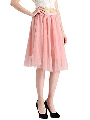 Beluring Womens Short Layered Asymmetrical Tulle Dance Knee Length Skirt