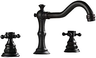 Beelee Deck Mounted Three Holes Double Handles Widespread Bathroom Sink Faucet, Oil Rubbed Bronze