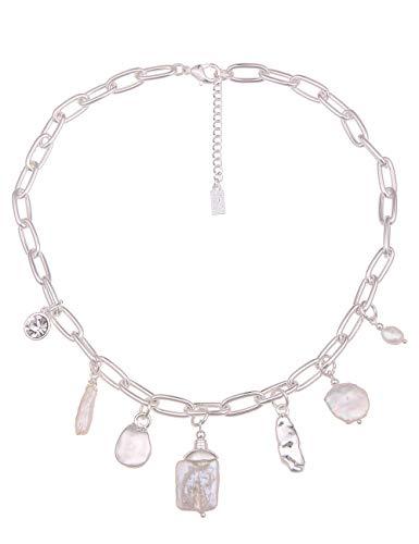 Leslii Damen-Kette Vera Statement Glieder-Kette weiße Perlen-Kette Kurze Halskette Silberne Modeschmuck-Kette in Silber Weiß