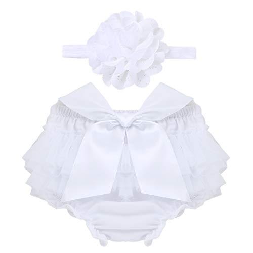 inhzoy Baby Mädchen niedliche Schleife Tüll Rüschen Shorts Windeln Abdeckung Bloomer Blume Stirnband Set Gr. 6-9 Monate, weiß