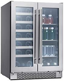 Zephyr Presrv Dual Zone Wine Beverage Cooler with Glass French Door 24 Inch 5 15 cu ft Refrigerator product image