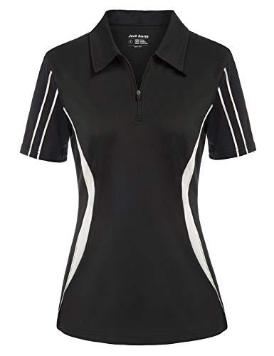 Golf Shirts for Women Short Sleeve Sports Athletic Shirts Moisture Wicking Tennis Tops Workwear Black M