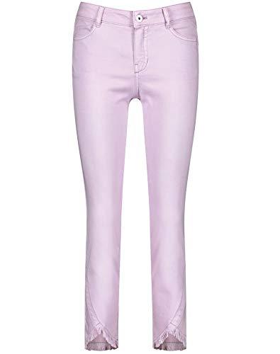 Taifun Damen Skinny Jeans mit Fransenkanten figurbetonte Passform Lavender 38