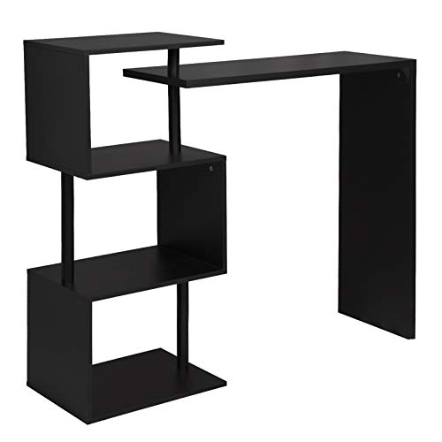 WOLTU Kitchen Bar Counter Table Bistro Table Breakfast Dining Table Black Coffee Table with 2-Tier Storage Rack Shelves for Beverage Display Shelving Strong Metal Frame BT27sz