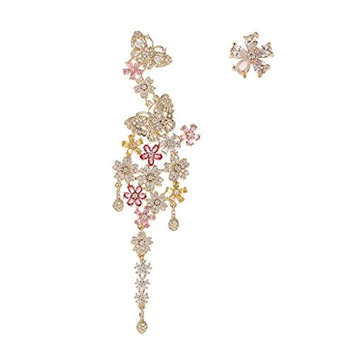 GYJYEG Pendientes asimétricos de la Forma de la Mariposa de la Zirconia, la Flor de la Aguja de Plata S925 Pendiente Colgante, Adecuado para Fiestas para Las Celebraciones de Bodas y Desgaste Diario