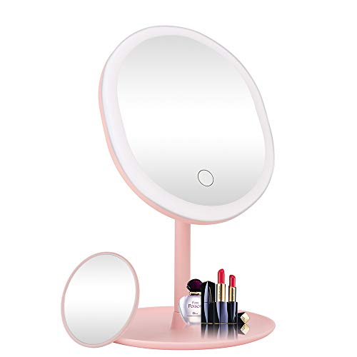Sanwsmo LED Makeup Mirror Vanity Mirror with Lights,3 Color Lighting Modes,5X Magnification,Touch Screen Switch,90 Degree Rotation,Portable Detachable Countertop Circle Tabletop Desk Face Mirror(Pink)