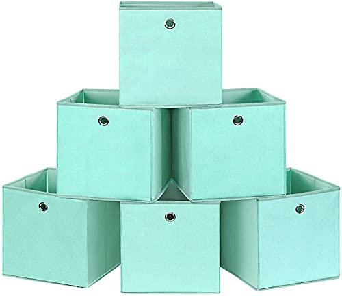 Swadal Caja de almacenamiento plegable de tela para guardar ropa, juguetes, con boquilla, 30 x 30 x 30 cm, para dormitorio, salón (verde)