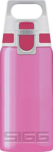 SIGG VIVA ONE Berry Cantimplora infantil (0.5 L), botella transparente sin sustancias nocivas y con tapa hermética, cantimplora para niños para usar con una mano