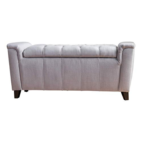 Christopher Knight Home Argus Fabric Armed Storage Bench Light Grey Fabric