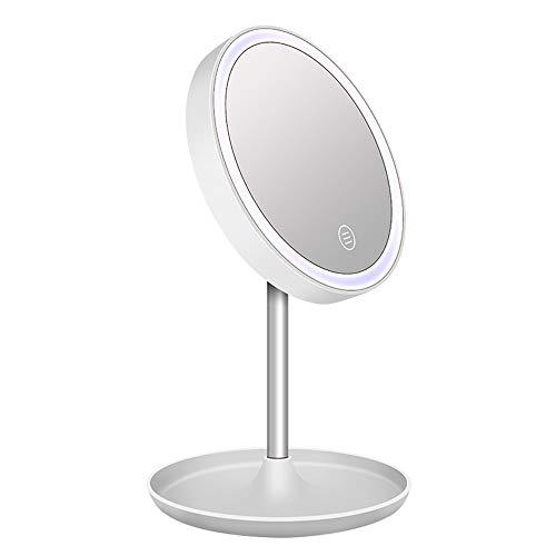 LED mirror Miroir de Maquillage illuminé, Miroir de Maquillage Portable, Deux Options d'alimentation, Rotation à 90 degrés, Gradation à Trois Vitesses, Trois Couleurs en Option