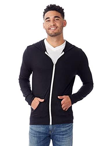 Alternative Men's Eco Zip Hoodie Sweatshirt Shirt, Eco True Black, Large