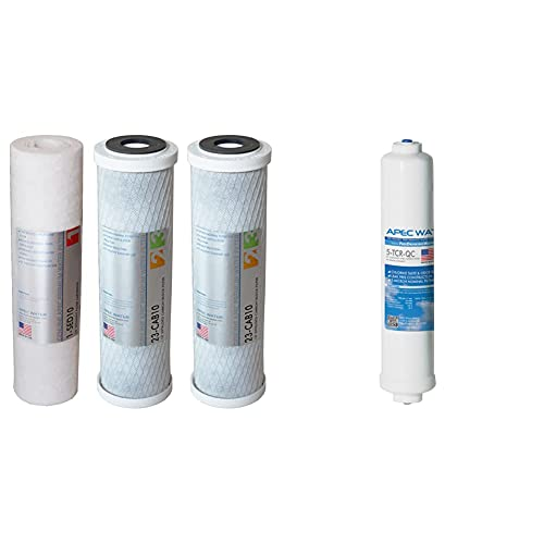 """APEC Water Systems Filter-Set US Made Double Capacity Replacement Stage 1-3 for Reverse Osmosis System, White & DE 10' Inline Carbon Filter with ¼"""" Quick Connect For Reverse Osmosis Filter System"""