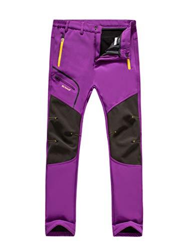 Minetom Damen Herren Wanderhose Outdoorhose Wasserdicht Softshellhose Winddicht Warm Gefüttert Winterhose Skifahren Schnelltrocknende Trekkinghose Damen Violett X-Large