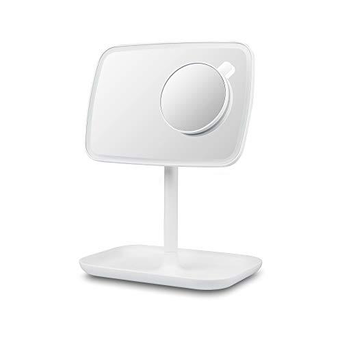 medisana CM 848 Kosmetikspiegel, Schminkspiegel mit LED-Beleuchtung, dimmbar, 5 und 10-fach Zoom, 360° Schwenkfunktion, Aufbewahrungsschale