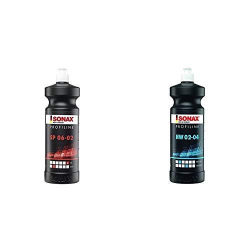 SONAX PROFILINE SP 06-02 (1 Liter) silikonfreie Schleifpaste & 02803000 PROFILINE HW 02-04 (1 Liter) Lackierverträgliche Konservierung aus der Profi-Serie