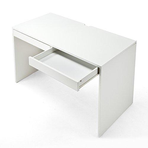 サンワダイレクト パソコンデスク 木製 幅120×奥行60cm 引き出し付き 耐荷重40kg モニターアーム対応 ホワイト 100-DESKH010W