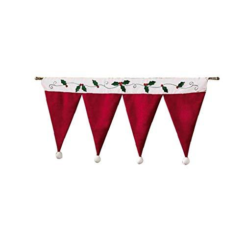fedsjuihyg Weihnachten Gardinen Ausgebogte Volants für Küche Dekorative Red Curtain Valance Darpes, 1PC